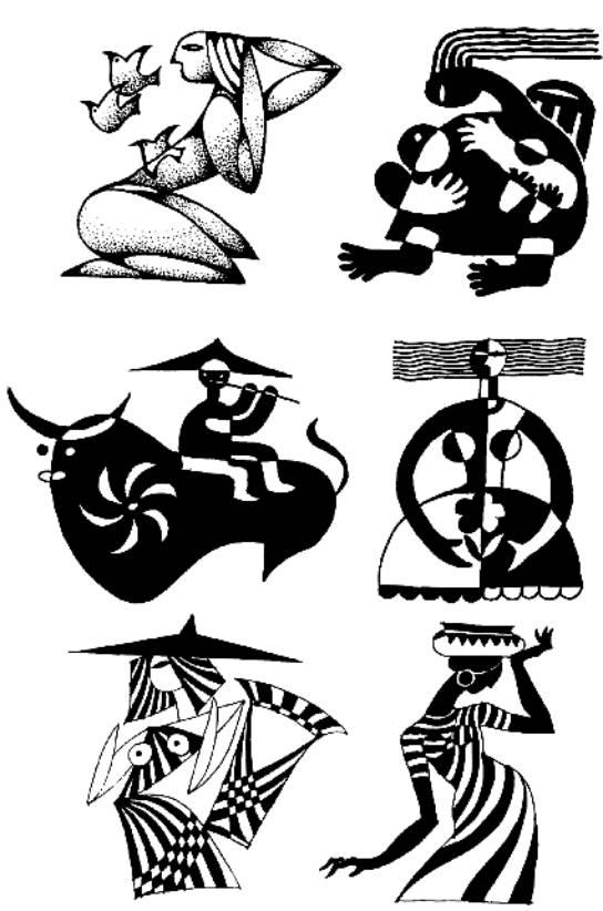 第三讲 人物图案 练习一 写生与技法 人物图案设计是所有图案中难度比较高的一种设计。当然,有了花卉、动物图案设计的基础,那么人物图案设计也就好掌握多了,因为毕竟它们有许多共同的原理。初学者开始写生时,可先从一些较为简单的头像速写着手画,然后再画些全身动作速写。在内容的选择上,有男女老少、中国人与外国人、汉族人与少数民族人的形象之分。所以应该找一些较为有特点的人种及动作来写生与设计。如少数民族人物,他们的形象及服饰较好掌握,外国人中的黑人人物形象也较好夸张。所以在人物的写生时,应尽量有所选择,为图案设计找到
